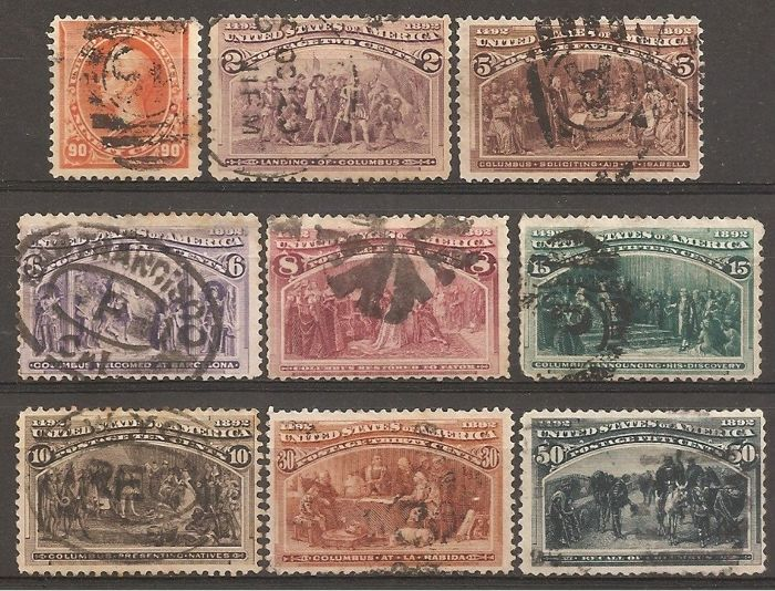 Verenigde Staten 1890/1893 - U.S.A. Lot 22, 9 used stamps - Unificato 99, 101, 104, 105, 106, 107, 108, 109, 110
