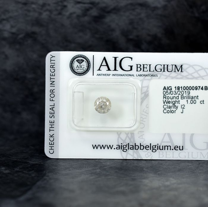 Diamante - 1.00 ct - Brillante - J - I2 - NO RESERVE PRICE