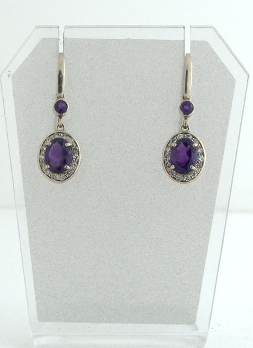 14 kt. White gold - Earrings - 2.52 ct Amethyst - Diamond