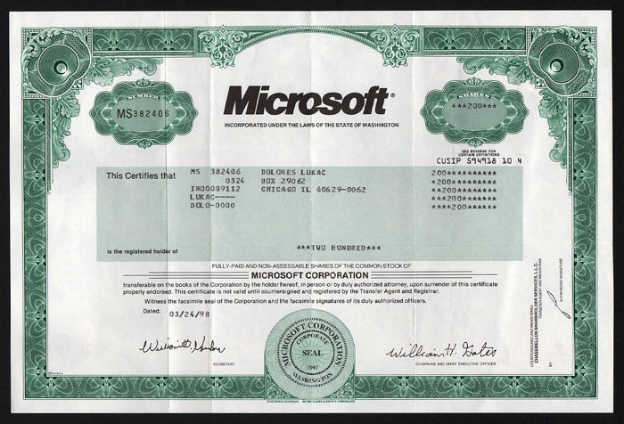EE.UU. - Microsoft Corporation - 1998 - Firma de Bill Gates