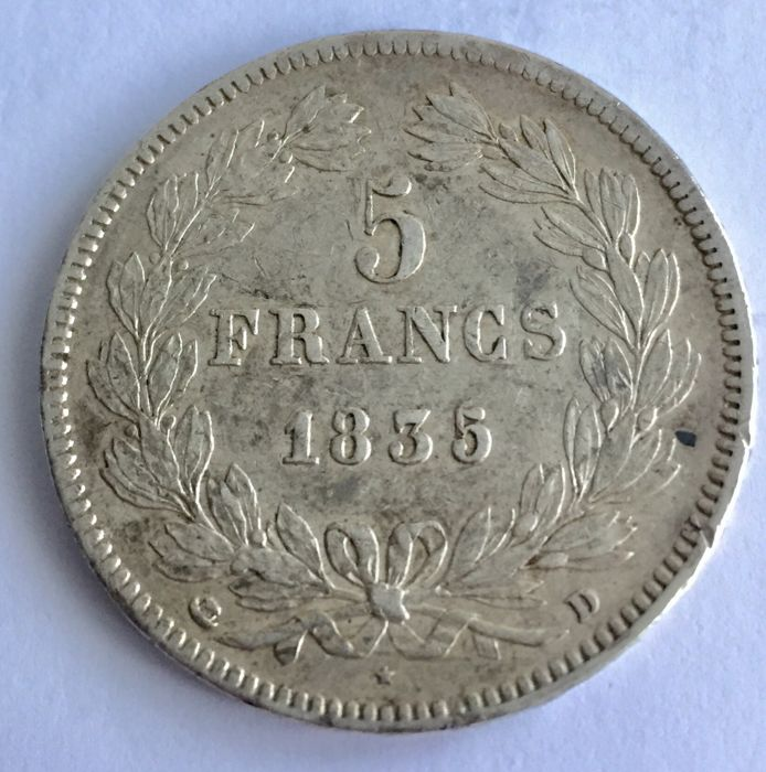 France - 5 Francs 1835-D Louis Philippe I - Silver