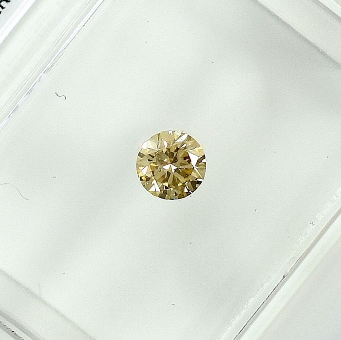 Diamant - 0.19 ct - Briljant - Natural Fancy Light Yellow - VS1 - NO RESERVE PRICE
