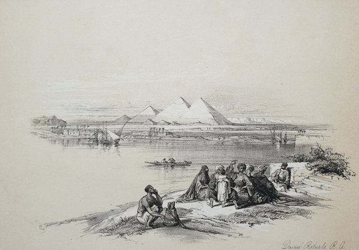 5 prints - David Roberts (1796-1864) - Pyramids of Gizeh, from the Nile