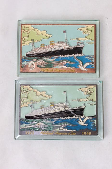 Holland America Line press-paper souvenir (2) - Art Deco - glass with enameled copper - mid 20th century