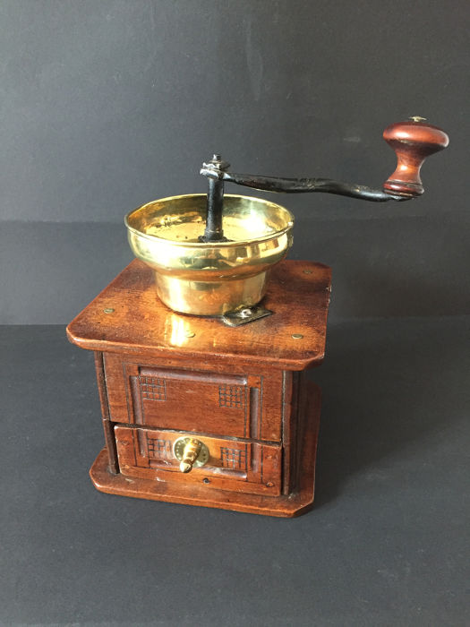onbekend - Prachtige complete koffiemolen - coffee grinder (1) - Art Deco - Brass, Copper, Wood
