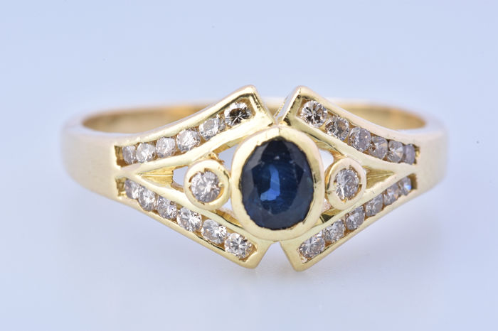 18 kt. Yellow gold - Ring - 0.13 ct Sapphire - Diamond
