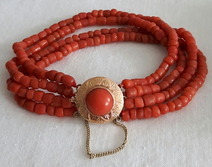 14 kt. Gold - Bracelet Blood coral