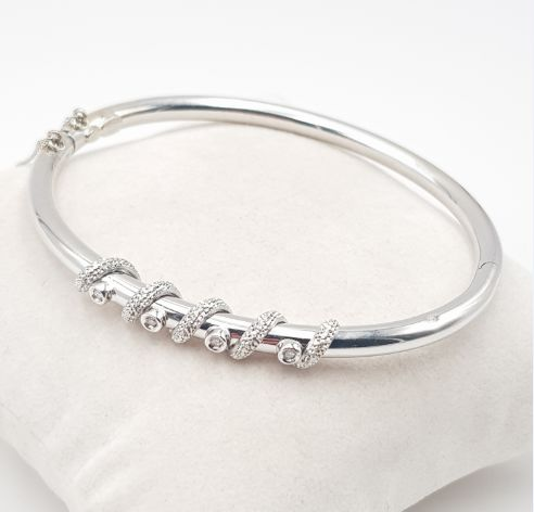18-karatowe Białe złoto - Diamond Bangle - 750's White Gold - 4 Diamonds - 0.04 ct Diament