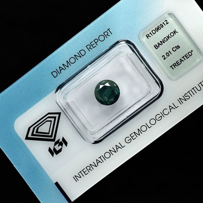 Diamant - 2.01 ct - Brillant - Fancy Deep Greenish Blue - N/A