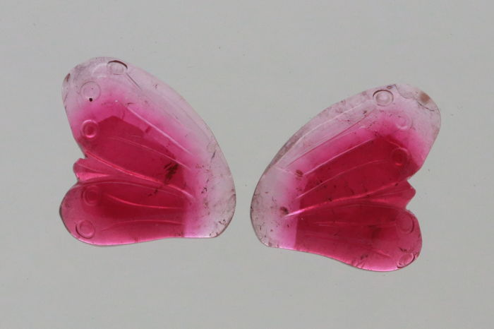 2 pcs Rosa rød Turmalin - 20.00 ct
