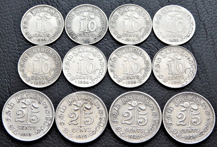 Ceylon - British Colonial - 10 Cents 1903 to 1941 +  25 Cents 1913 to 1925 (12 pieces)  - Silber