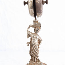 Antique French counter / hotel bell with a woman - Alloy, Silver gilt
