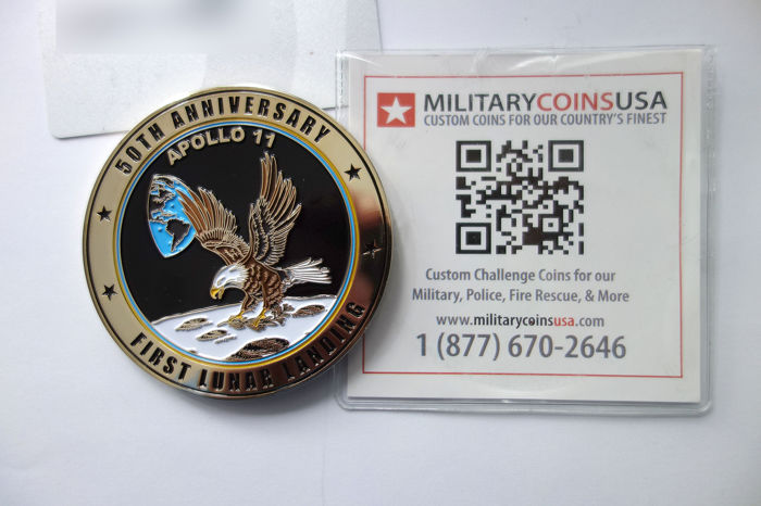 Military Coins USA - Apollo 11 50e verjaardag, Medaille - Emaille, Messing
