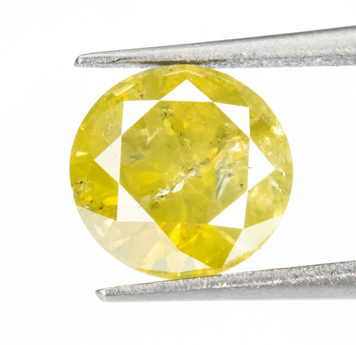 Diamante - 1.55 ct - Natural Fancy intenso amarillo verdoso - I2  *NO RESERVE*