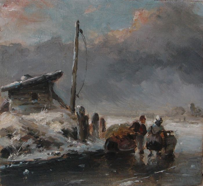 Dutch school (19/20e eeuw) After Andreas Schelfhout - Winterlandscape