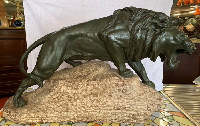 Very large sculpture depicting a roaring lion on a rock - antimony with green patina - 1900 circa