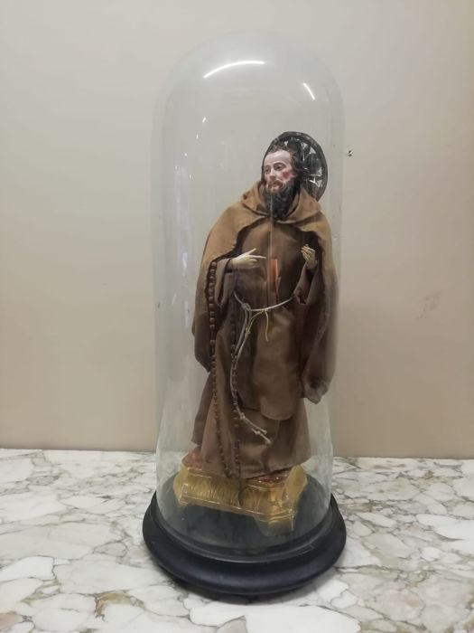 Saint, San Giuseppe - glass bell (1) - Terracotta, Wood - Second half 19th century