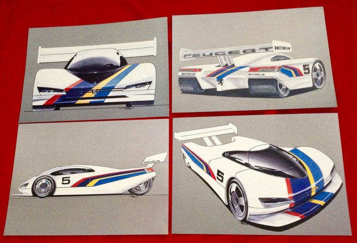 Obraz - Peugeot - nice lot with 4 Peugeot 905 Sport 1990 sketches and 16 Press Peugeot Photos  - 1990-1995