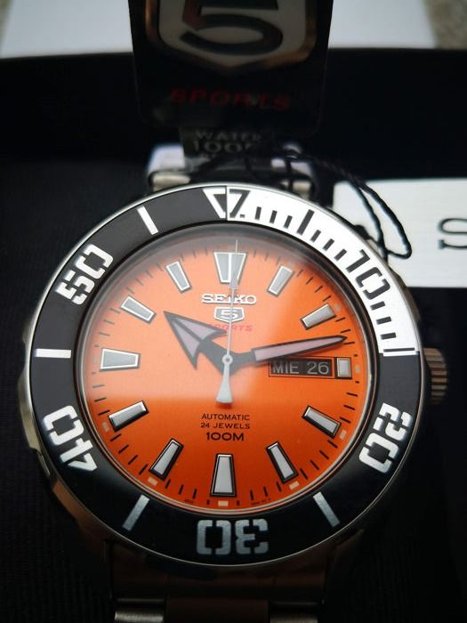 "Seiko - ""NO RESERVE PRICE"" 5 Sports Automatic Japan Made  tone orange - Heren - 2011-heden"