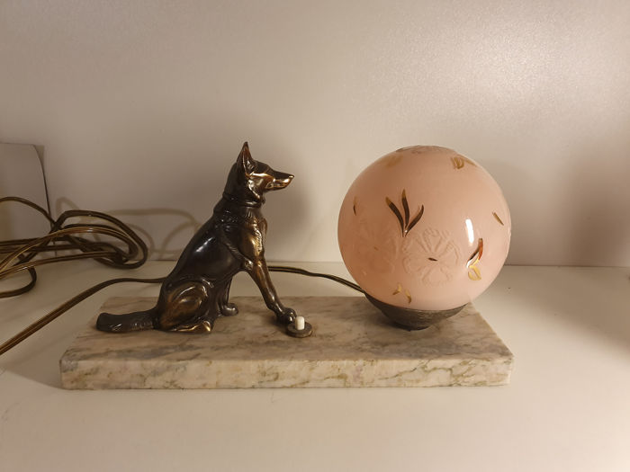 Bedside lamp - Art Deco - Bronze and glass