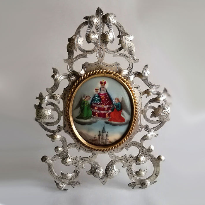 Silver or silver plated home altar with framed porcelain panel - Brass, Porcelain, Silver