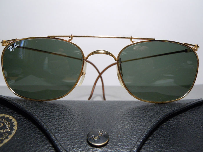 Ray-Ban Deco W1537 Square Arista By Bausch & Lomb - 24K Gold Plated Vintage 80's Zonnebril
