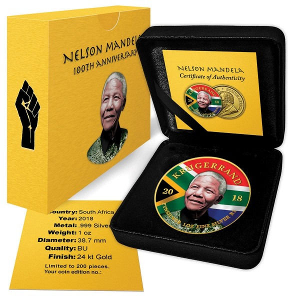 South Africa - 1 Krugerrand 2018 Nelson Mandela Edition Farbe + Gilded mit Box & Zertifikat - 1 Oz - Silver