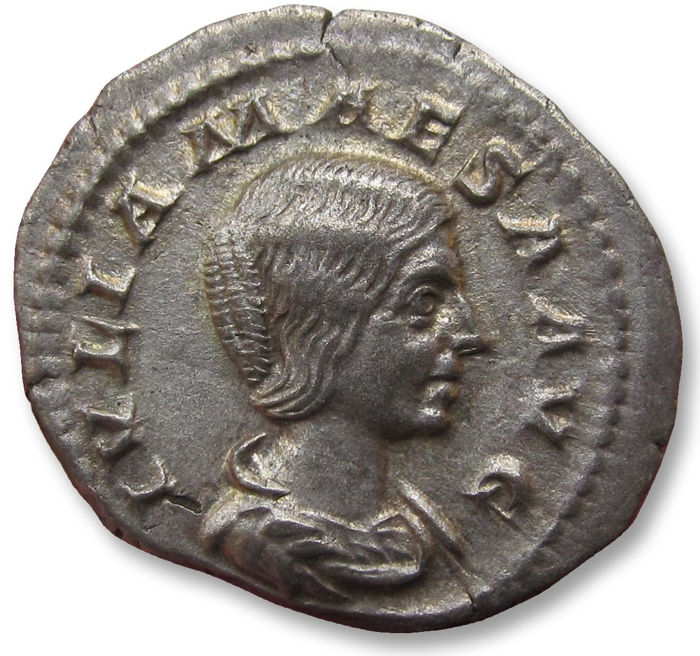 Roman Empire - AR denarius, Julia Maesa (sister of Julia Domna, mother of Julia Soaemias & Julia Mamaea), Rome mint 218-220 A.D. -  PIETAS AVG, Pietas standing left, beauty - Silver