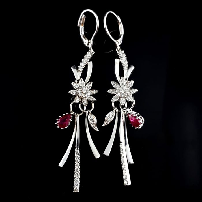 18 karaat Geel goud, Witgoud - Ladie's Ruby & Diamond Earring - 0.99 ct Robijn - Diamant