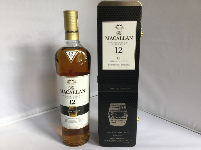Macallan 12 years old Sherry Oak - Limited Edition In Metal Box - (Dents In Metal Box) - 700ml