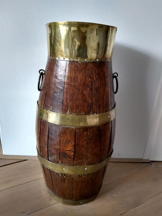 Large umbrella stand - tons - Solid timber / copper