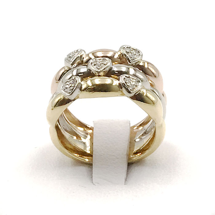 18 kt. Pink gold, White gold, Yellow gold - Ring - 0.23 ct Diamond