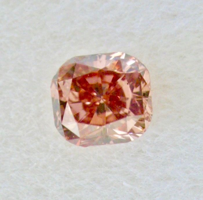 1 pcs Diamante - 0.12 ct - Cojín - fancy brownish orangy pink - SI1