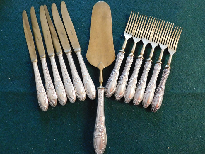 Cutlery (13) - Antique Cutlery Sweet Service in Alpacca and 800 Silver