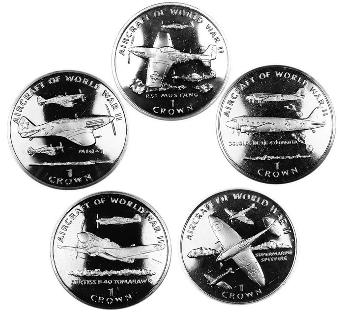 Isle of Man - Crowns 1995 'Aircraft of World War II' (5 coins)
