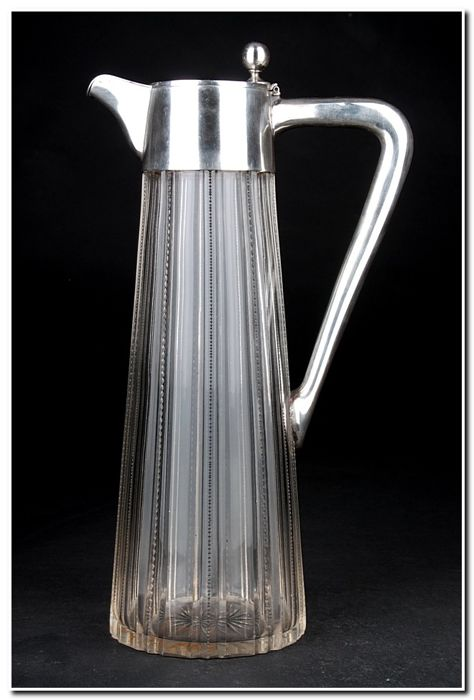 Decanter, Pitcher - .800 silver, Crystal - Germany - Late 19th century