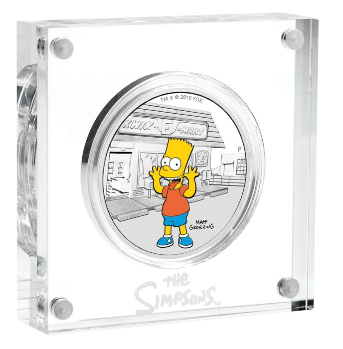 Tuvalu - 1 Dollar 2019 Die Simpsons - Bart Simpson - Perth Mint - 1 Oz Farbe mit Box & Zertifikat  - Silver
