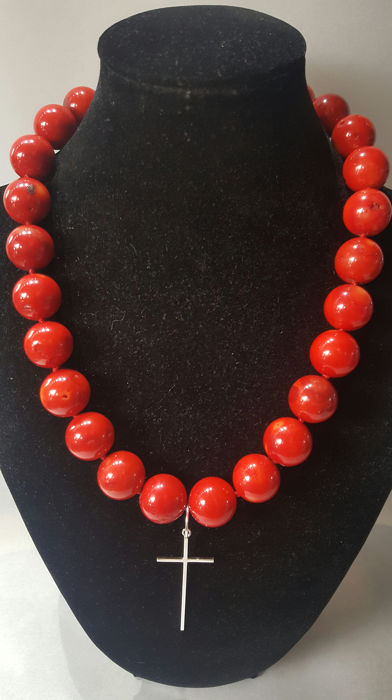 Silver cross and necklace - .925 plata, coral