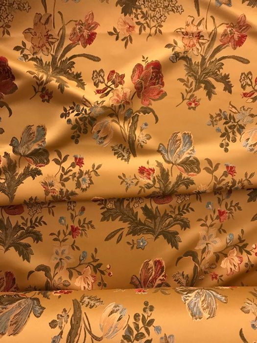 3.10 meters x 3 meters heavy San Leucio gold damask fabric with floral decoration - Cotton, Satin - Unknown