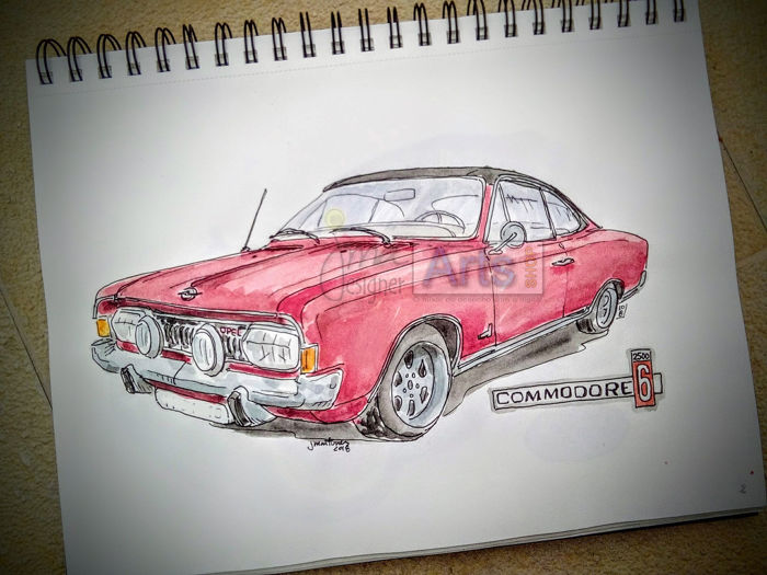 Original watercolor by Jorge Antunes - Opel Commodore 6 - 2018