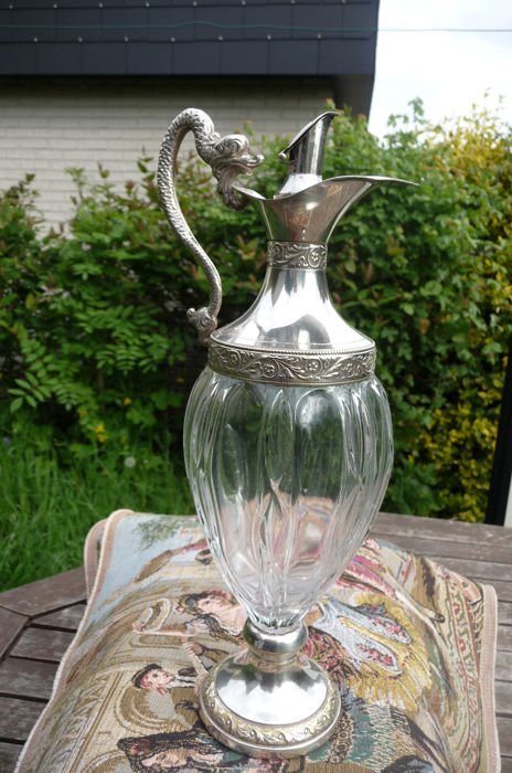 Beautiful antique carafe with gold-plated frames (1) - Glass, Silverplate