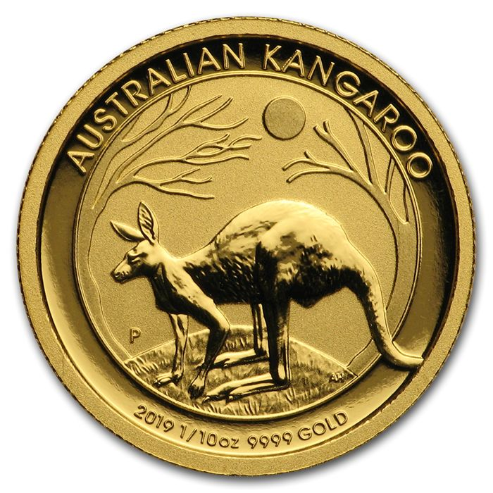 Australie - 15  Dollars 2019 Perth Mint Känguru 1/10 oz  - Or