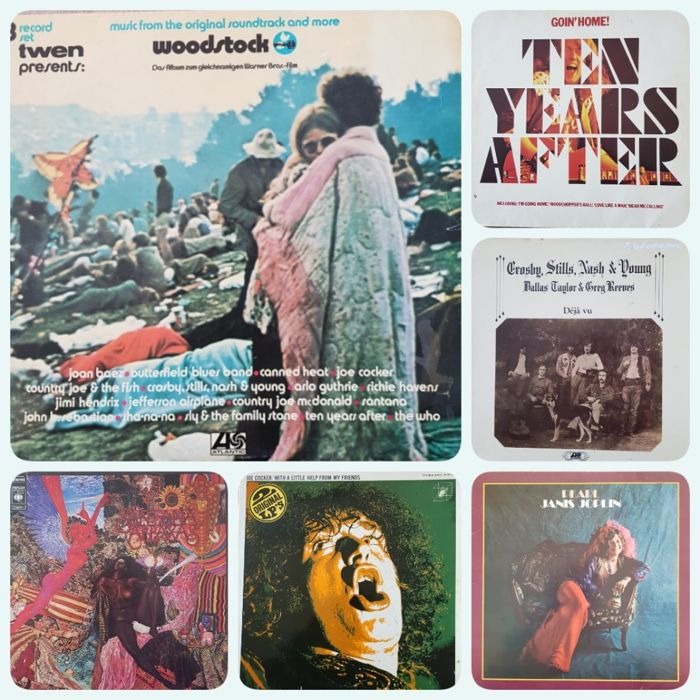 Woodstock & related, Santana, Janis Joplin, Ten Years After, Joe Cocker &CSNY - Différents artistes - 1969 Music and Art Fair. 3 days of peace and music  - Différents titres - 2xLP Album (double album), 3xLP Album (Triple album), LP's - 1970/1976