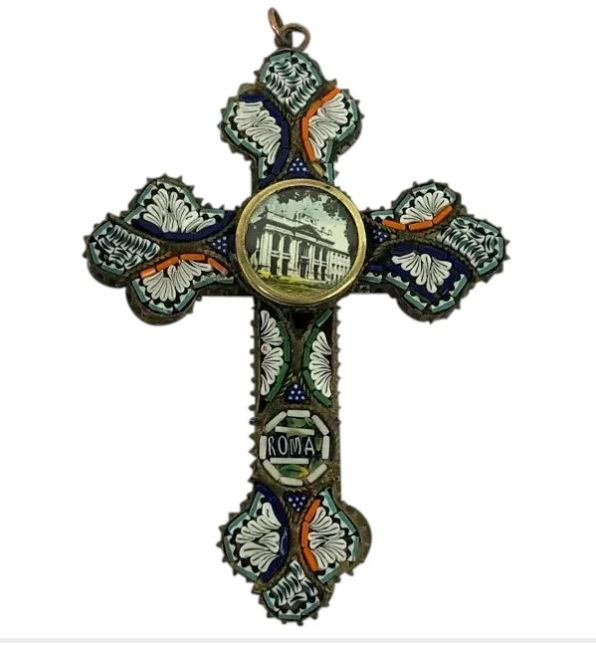 Grand Tour: micro mosaic cross - Roma - Copper, Glass - Approx. 1870