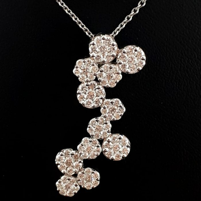 18 quilates Oro blanco - Collar de diamantes de Ladie - 2.15 ct Diamante