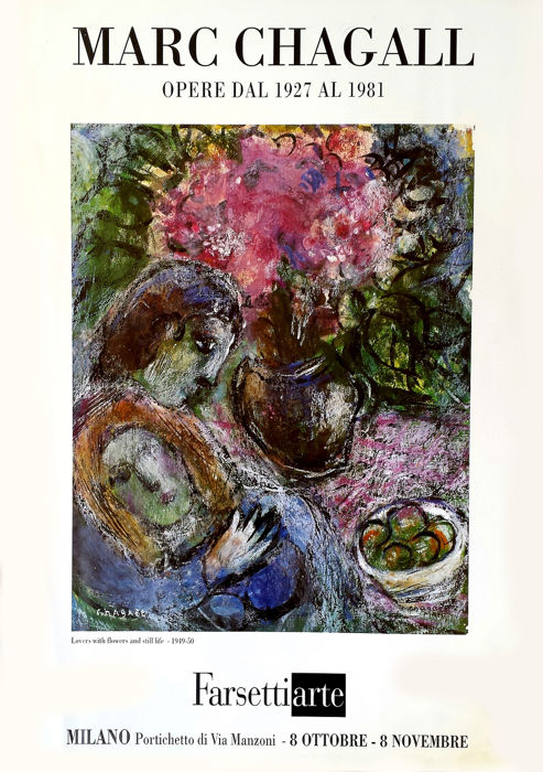Marc Chagall - Lovers with flowers and still life - 1981