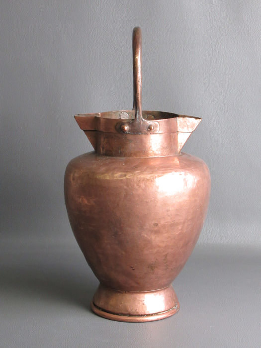 Antique copper container jar with two spouts - Copper