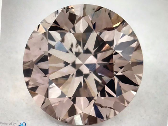 1 pcs Diamant - 0.41 ct - Rond - fancy pinkish brown - SI1