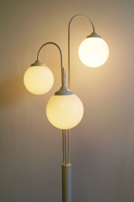 Elco - retro floor lamp with 3 white bulbs - glass and metal