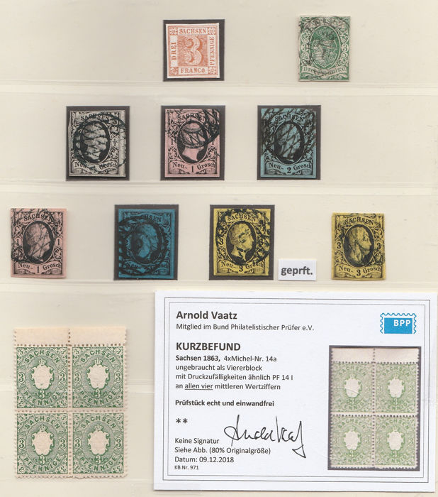 Saksen 1851/1863 - overcomplete collection with 4 certified values - Michel 2 - 19